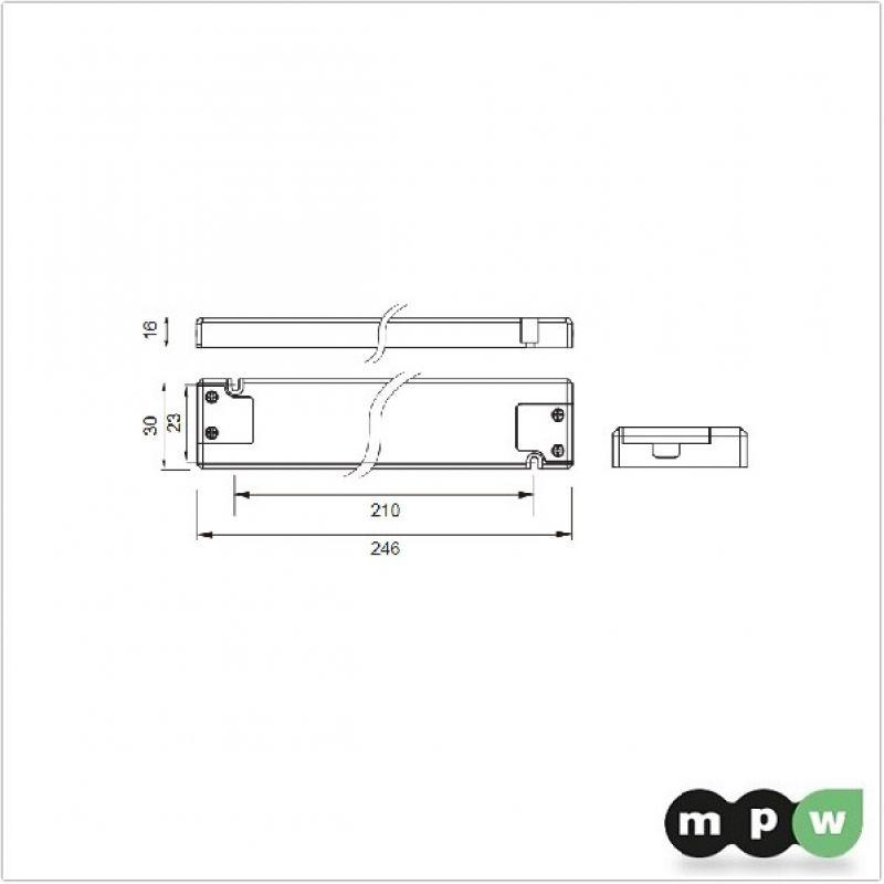 mpw superschlanker led trafo 24v 30w 16x30mm self 124673. Black Bedroom Furniture Sets. Home Design Ideas