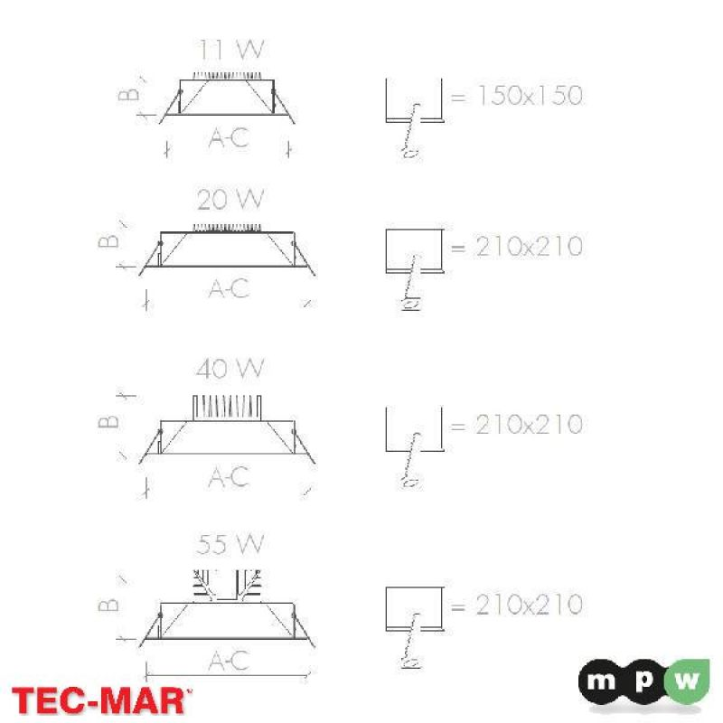 mpw tec mar led quadro vs 5400 4000k 55w 110108. Black Bedroom Furniture Sets. Home Design Ideas